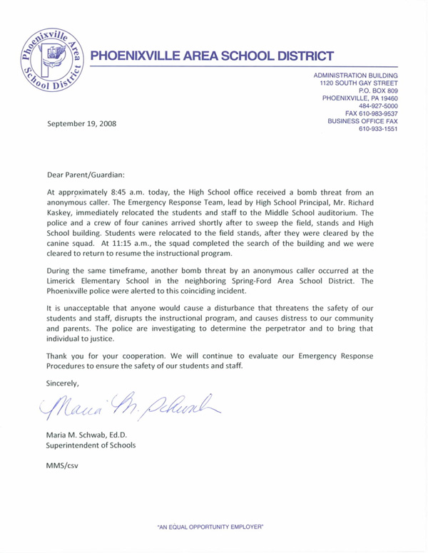 Letter To The Parents Of Students Phoenixville District